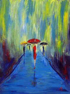RAIN Painting Abstract I absolutely love, love, love this painting. I want so bad to paint a rainy day scene with reflections on pavement and people walking with umbrellas.