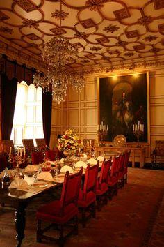 Dining room, Warwick Castle, England