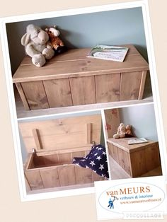 Steigerhout speelgoedkist / klepbankje / dekenkist gemaakt door van Meurs verbouw en interieur
