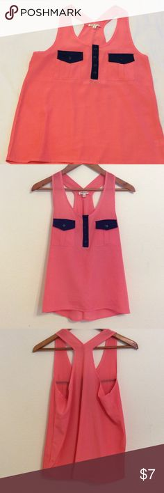 Racer back tank top. $5 with a bundle. Coral and navy racer back high low tank top Tops Tank Tops