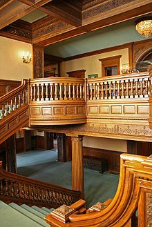 The grand staircase of the James J. Hill House in St. Paul