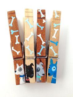 DOG CLOTHESPINS wooden hand painted magnets black lab dog bones