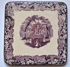 Mason's Vista Aubergine Purple Transferware Tile / Trivet / Hot Plate Staffordshire Oak Leaf Border