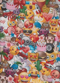 "Emoji Happy Face Smiley Facebook Internet Blue bolt end scrap Fabric 10"" by 44"""