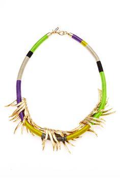 Gold Charm Multi Color Wrap Bib Necklace
