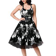 4XL 50s60 Skull Dress Vestidos De Festa Women Casual Print Swing Dress Lace Patchwork Polka Dot Formal Vintage Rockabilly Dress