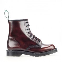 Solovair Rub Off Hi Shine Leather 8 Eyelet Derby Lace Up Boot Burgundy | Adaptor Clothing
