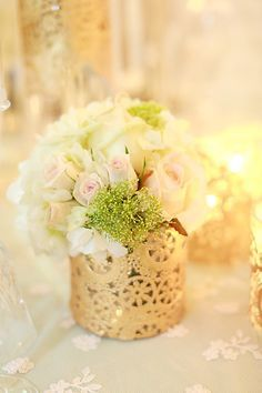 Gold doilies on clear vase- will cut this out more so looks more like picture you sent