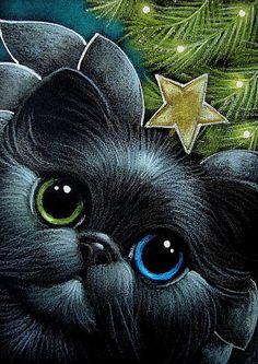 HOLIDAY BLACK ANGEL CAT ODD EYES WITH STAR