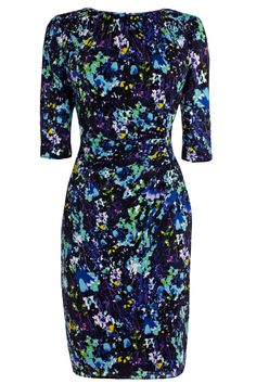 Ease your wardrobe into spring with this subtle floral print dress. This timeless dress will be a chic addition to your wardrobe, creating a classic silhouette complete with flattering gathered waistline. The Riya Dress features elegant elbow-length sleeves and the statement electric blue zip up the spine, co-ordinating beautifully with the eclectic colours of the print.