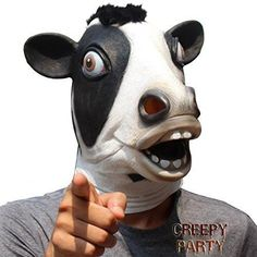 CreepyParty Deluxe Novelty Halloween Costume Party Latex Animal Brown Cow