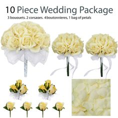 10 Piece Wedding Package - Silk Wedding Flowers - Yellow Rose Bridal Bouquets - TheBridesBouquet.com