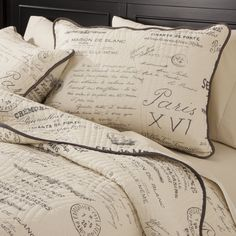 Script Quilt Set - Gray- A need for a vintage/travel themed bedroom. Paris Rooms, Paris Bedroom, Paris Bedding, Paris Themed Rooms, Home Fashion, Quilt Bedding, Bedding Sets, Gray Bedding, Bedroom Comforters