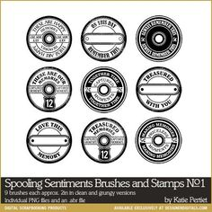 Spooling Sentiments Brushes and Stamps No. 01