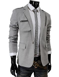 Casual Zipper Point Slim Fit One Button Blazer