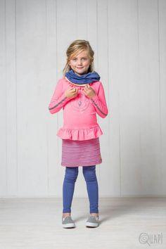 Quapi | Dress Fien Sweet | Legging Florijn 1 Jeans Blue | Scarf Faline 1 Jeans Blue