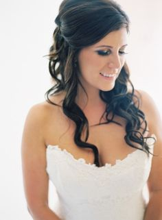 Wedding hair idea- romantic, half-up, half-down