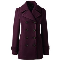 Lands' End Women's Petite Wool Peacoat ($107) ❤ liked on Polyvore featuring outerwear, coats, red, wool pea coat, purple peacoat, purple coat, wool coat and lands end coats