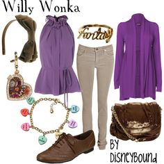 """Willy Wonka"" by lalakay on Polyvore  I would replace the purple sweater with a brown blazer"