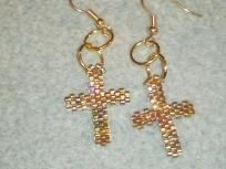 Brick Stitch Hand beaded cross earrings $7.00