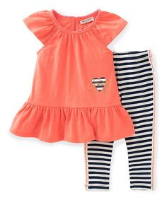 Juicy Couture Coral Ruffle Tunic & Stripe Leggings - Toddler & Girls   zulily