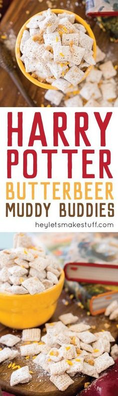 These sweet and buttery butterbeer muddy buddies are the perfect treat for Harry Potter parties and Fantastical Beast fetes. Grab your wand and conjure up this delectable dessert today! (Cool Desserts For Parties) Chex Mix Recipes, Snack Recipes, Dessert Recipes, Cooking Recipes, Snacks Ideas, Free Recipes, Cooking Food, Baking Snacks, Weight Watcher Desserts