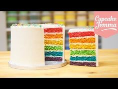 ▶ How to make the Best Ever Rainbow Cake | Cupcake Jemma - YouTube (this looks like hours of hard work, but the cake sure is gorgeous!)