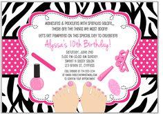Zebra Pedicure Spa Birthday Party Invitations-pedicure,spa,zebra,glamour,girl,nail,polish,invitations,birthday,party,personalized,pedicure birthday party invitations