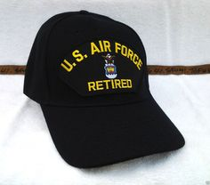 b1759a7789e46f US AIR FORCE RETIRED (BLACK) Military Veteran Hat 70 VV #BaseballCap  Veteran Hats