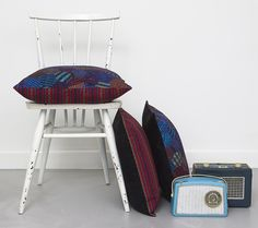 Sian O'Doherty Textile Designer - Patchwork and Giant Orange Threads Cushion. See this at New Designers 2013