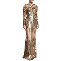 Elie Saab Illusion Star-Beaded Tulle Gown, Gold ($13,080) ❤ liked on Polyvore featuring dresses, gowns, elie saab gowns, elie saab dresses, tulle dress, beaded evening gowns and gold gown