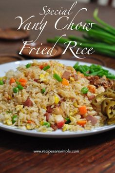 Special Yang Chow Fried Rice / Yang Zhou Chao Fan with Shrimp - Watch Video Entree Recipes, Rice Recipes, Asian Recipes, Cooking Recipes, Healthy Recipes, Chinese Recipes, Chinese Food, Chinese Meals, Chinese Egg