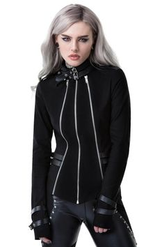 Mara So Zipped Jacket [B] | KILLSTAR Channelling some military vibez in the 'Mara' so zipped jacket - perfect balance of zips and strap-detailing whilst the super-stretch fabric gives you a flattering shape. The triple zip front gives a unique look - whilst the high collar add sophistication. Matches perfect with yer denims and short skirts, and a killer manicure to complete the look.