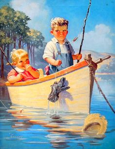 Young Boy and Girl on a Boat