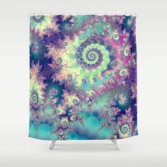 Violet Teal Sea Shells, Abstract Underwater Forest  Shower Curtain by Diane Clancy's Art - $68.00