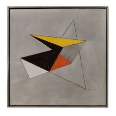 Geometric Wall Art Signed Jenkings 1972 American  American  1970's  Stainless and enameled geometric wall art framed, signed and dated.