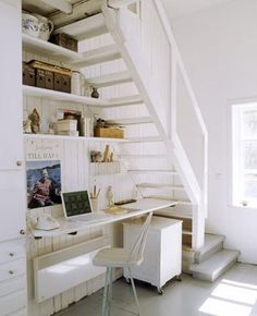 Space-Saving Stairs   desk under stairs space saving tips