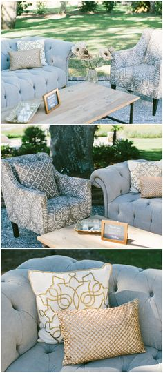 Gray Upholstered Furniture Couch Armchair Chic Lounge Area Wedding Reception Ideas
