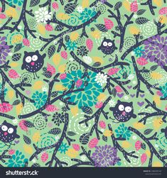 Creative children pattern with funny owls and floral elements. Vector seamless background. #owl #pattern #illustration #ekapanova #shutterstock #cute