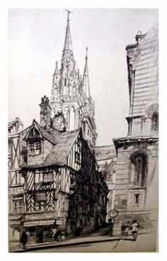 Samuel Chamberlain (1895-1975-American) - Cathedral St. Andres, Bruges - 1928