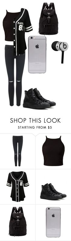 """School day outfit"" by alannaxjonnesx ❤ liked on Polyvore featuring Frame Denim, LE3NO, Converse, Prada, Beats by Dr. Dre, women's clothing, women's fashion, women, female and woman"