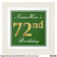 Elegant Green Faux Gold Birthday Name Napkin - elegant gifts gift ideas custom presents 41st Birthday, 70th Birthday Parties, Birthday Name, Birthday Diy, Birthday Gifts, Script, Birthday Greeting Cards, Paper Napkins, Wrapping
