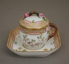 Custard cup with cover and tray Factory: Royal Porcelain Manufactory (Danish, Date: Culture: Danish, Copenhagen, The Metropolitan Museum of Art Fine Porcelain, Porcelain Ceramics, Porcelain Tiles, Antique China, Vintage China, Tea Cup Saucer, Tea Cups, Tea Cup With Lid, Flora Danica