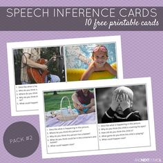 10 free printable speech therapy inference cards for kids with autism and/or hyperlexia from And Next Comes L Inference Activities, Speech Therapy Activities, Language Activities, Articulation Activities, Reading Activities, Educational Activities, Speech Language Pathology, Speech And Language, Language School