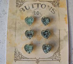 Vintage Heart Glass Buttons