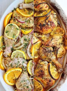 """Chicken recipes oven Herb and Citrus Oven Roasted Chicken """"1/4 cup olive oil 4 cloves of garlic, minced 2 tablespoons sugar 2 whole lemons, one juiced and one sliced 2 whole oranges, one juiced and one sliced 1 tablespoon Italian seasoning 1/2 teaspoon paprika 1 teaspoon onion powder 1/4 teaspoon crushed red pepper flakes Kosher salt and freshly ground pepper, to taste 10-12 pieces (about 4 1/2 lbs.) bone-in chicken parts (thighs and legs are best), pat dry 1 medium onion (any kind), thinly…"""