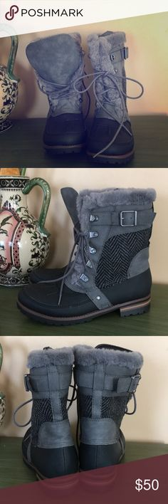 Faux Fur Combat Boots Brand new.  1 inch heel.  Super cute!!  No box.    Will ship immediately📦✅ Questions⁉️Please ask‼️ Thank you for looking 🤩😍 Rock & Candy Shoes Winter & Rain Boots