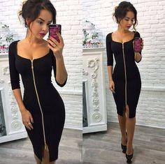 a8b57b6f5439 Autumn Knitting Dress 2018 New Fashion Women Sheath Short Sleeve Dress  Knee-Length Square Collar Casual Zipper Dresses