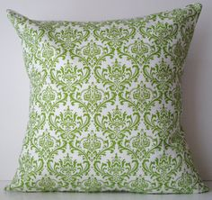 New 18x18 inch Designer Handmade Pillow Case. Damask pattern in lime green and white. $20.00, via Etsy.  milkandcookies.ca