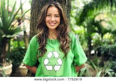 Environmental Activist  In The Forest Wearing Recycle T-shirt